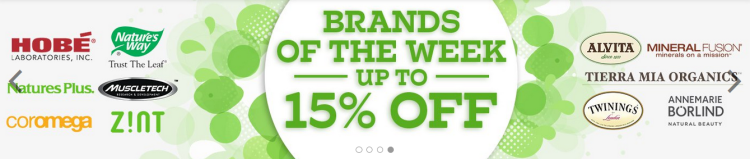 iHerb 15% off on brands of the week