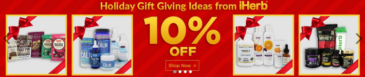 iHerb 10% off on Holiday Gifts