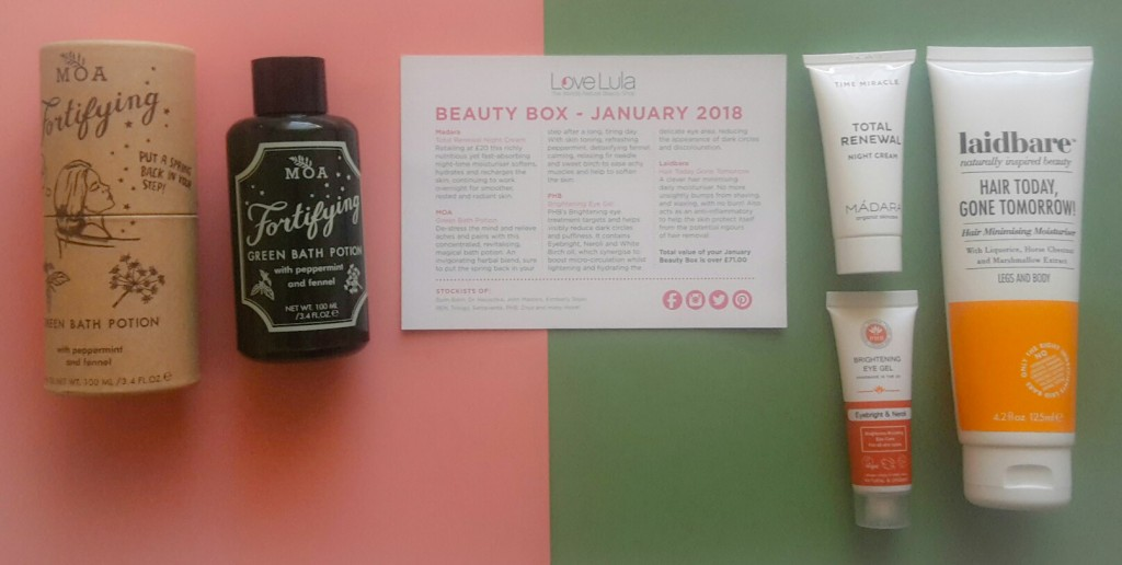 Love Lula Beauty Box January 2018
