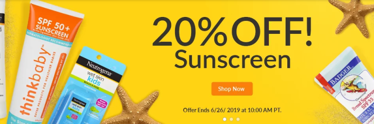 iHerb 20 percent off on sunscreen